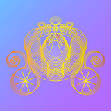 Carro de oro para la princesa Cinderella Imagen de archivo libre de regalías