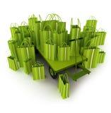 Carro de paleta verde por completo de los bolsos de compras verdes ilustración del vector