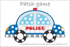 Carro de polícia do jogo do remendo da educação para que as crianças desenvolvam habilidades de motor, remendos do plasticine do  ilustração royalty free