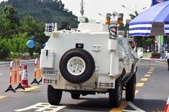 Carro de polícia na estrada Imagem de Stock