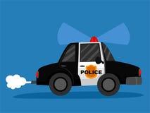 Carro de polícia no fundo azul ilustração stock
