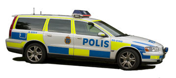 Carro de polícia sueco foto de stock