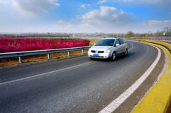 Carro de propriedade na estrada Fotos de Stock Royalty Free