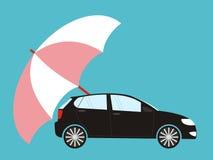 Carro de proteção do guarda-chuva azul, estilo liso Segurança, seguro, ris Imagens de Stock Royalty Free