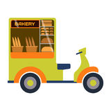 Carro de restaurante do vetor do reboque da padaria do festival do alimento da rua Fotos de Stock