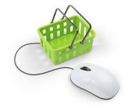 Carro de Shoping y ratón del ordenador ilustración del vector