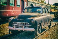 Carro de trilho velho no museu do trem, Budapest Imagens de Stock Royalty Free