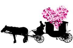 Carro del amor en el fondo blanco ilustración del vector