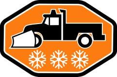 Carro del arado de nieve con el copo de nieve ilustración del vector