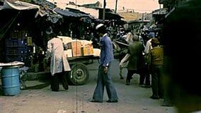 Carro del burro del mercado de Gaza almacen de video