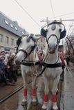 Carro del caballo en el día de fiesta 2016 de la tranvía de Moscú Imagen de archivo libre de regalías