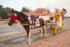 Carro del caballo en el templo Phra ese Lampang Luang imagen de archivo