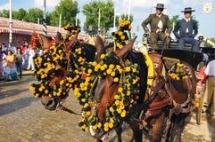 Carro del caballo en la Sevilla justa, Andalucía, España Fotos de archivo libres de regalías