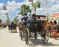 Carro del caballo en la Sevilla justa, Andalucía, España Fotografía de archivo