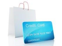 carro del crédito 3d Concepto de las compras Imagenes de archivo