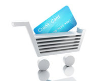 carro del crédito 3d Concepto de las compras Foto de archivo libre de regalías