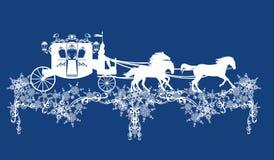 Carro del cuento de hadas del invierno y decoración del vector de los copos de nieve stock de ilustración