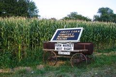 Carro del mercado de la granja Fotografía de archivo libre de regalías