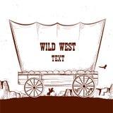 Carro del oeste salvaje con las praderas americanas Backg del ejemplo del vector libre illustration