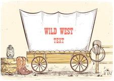 Carro del oeste salvaje Fondo del ejemplo del vaquero del vector para el texto ilustración del vector