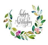 Carro del saludo del feliz cumpleaños con waterco hecho a mano de la guirnalda del círculo Fotos de archivo libres de regalías