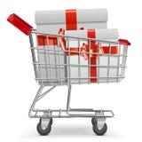 Carro del supermercado del vector con los regalos Imagen de archivo libre de regalías