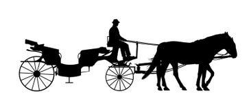 Carro del viejo estilo con una silueta del cochero Imagen de archivo libre de regalías