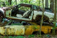 Carro despedaçado em outro Imagens de Stock