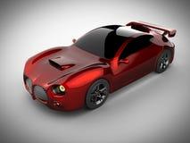 Carro desportivo brandless luxuoso vermelho no fundo branco ilustração stock