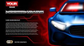 Carro desportivo moderno novo azul do vetor de Digitas ilustração do vetor