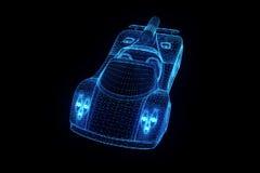 Carro desportivo no estilo de Wireframe do holograma Rendição 3D agradável Fotos de Stock