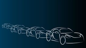 Carro, carro desportivo no fundo do movimento, do carro e do carro desportivo ilustração stock
