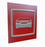 Carro desportivo que estaciona o sinal vermelho isolado Fotos de Stock Royalty Free