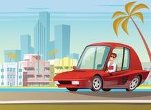 Carro desportivo vermelho na movimentação do oceano em Miami ilustração stock