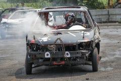 Carro destruído na ação Foto de Stock Royalty Free