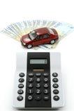 Carro, dinheiro e calculadora Imagens de Stock