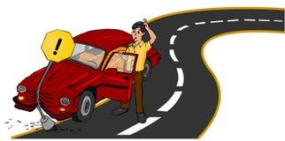 Carro do acidente na estrada Foto de Stock Royalty Free