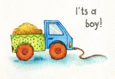 Carro do brinquedo do caminhão para a aquarela do menino Fotografia de Stock
