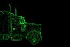 Carro do caminhão no estilo de Wireframe do holograma Rendição 3D agradável Fotos de Stock Royalty Free