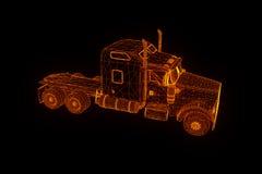 Carro do caminhão no estilo de Wireframe do holograma Rendição 3D agradável Imagem de Stock