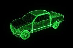 Carro do caminhão no estilo de Wireframe do holograma Rendição 3D agradável Foto de Stock Royalty Free