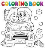 Carro do casamento do livro para colorir ilustração royalty free