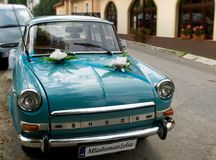 Carro do casamento do vintage Fotografia de Stock Royalty Free