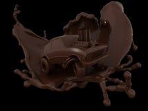 Carro do chocolate, carro dos desenhos animados do chocolate Fotografia de Stock Royalty Free
