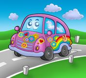 Carro do Hippie na estrada Foto de Stock Royalty Free