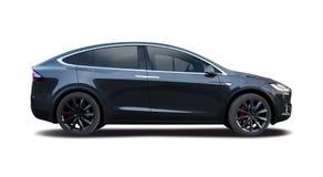 Carro do modelo X de Tesla fotografia de stock