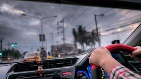 Carro do motorista na estrada Imagens de Stock