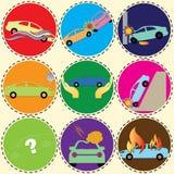 Carro do seguro no círculo de cor Fotos de Stock Royalty Free