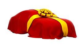 Carro do sonho coberto com o pano vermelho Fotos de Stock Royalty Free
