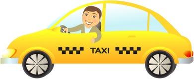Carro do táxi com polegar do excitador acima ilustração royalty free